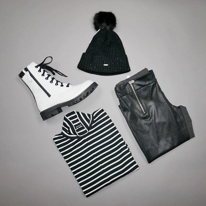 Figurbetontes black&white- Outfit – perfekt für die kalte Jahreszeit